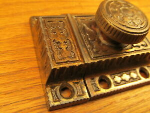 Old Brass Plated Cupboard Latch Cabinet Lock Latch Ornate