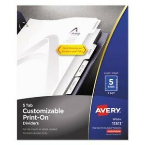 6 Pack Avery Ave11511 Index Divider Customize And Print Directly On Dividers