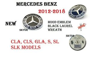 Black Hood Emblem Laurel Wreath Flat Logo For Mercedes Cla Gla Slk Cls Sl Cls S