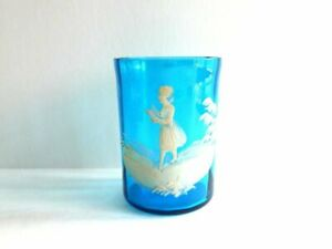 Antique Authentic C 1880s Mary Gregory Bohemian Glass Tumbler