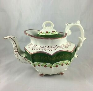 Antique Early Mid 19th Century English Pink Lustreware Luster Teapot As Is