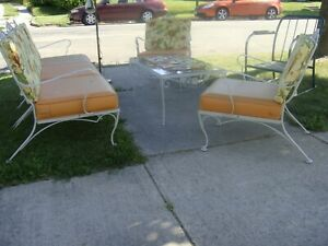 Best 60s Vtg 6pc Patio Set Mid Century Wrought Iron Chairs Coffee Table Woodard
