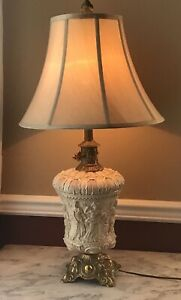 Vintage Italian 3d Porcelain Lamp Working Condition Shade Not Included