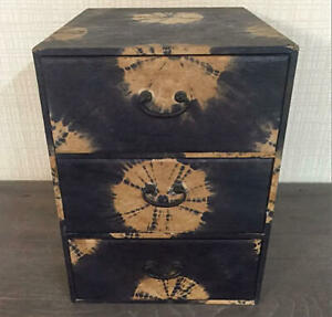 28 Cm Japanese Small Wooden Chest Of Drawers Tansu Stick Paper Vintage Rare I3