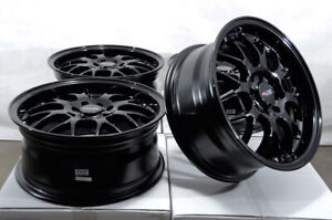 16 4x100 4x114 3 Black Rims Fits Honda Accord Cobalt Civic Lancer 4 Lug Wheels