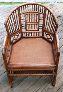 Vintage Rattan Cane Brighton Pavilion Barrel Chair Excellent Condition