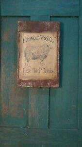 Primitive Vintage Advertising Farm Homestead Sheep Sign Wool Grubby Grungy