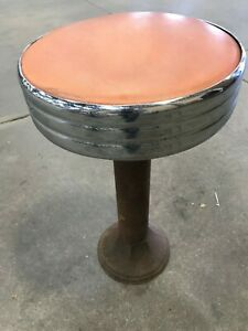 Vintage Art Deco Diner Stools Soda Fountain Ice Cream Parlor Old Steel Base