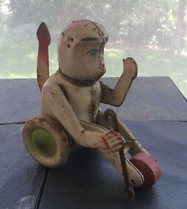 Antique Tin Monkey Wind Up Toy With Crank Tail