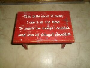 Vintage Red Wood Childs Kids Bench Step Stool This Little Stool Is Mine 12