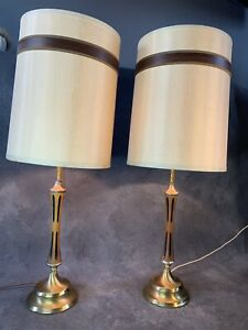 Mid Century Modern Wood Table Lamp Pair W Stripe Shade Vintage Mcm Light Danish