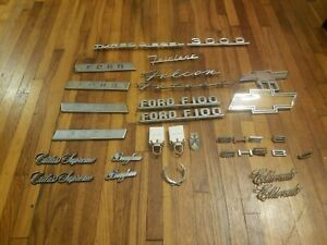 Lot Of 31 Vintage Car Truck Emblems Chevy C10 Ford F100 Cadillac Oldsmobile Etc