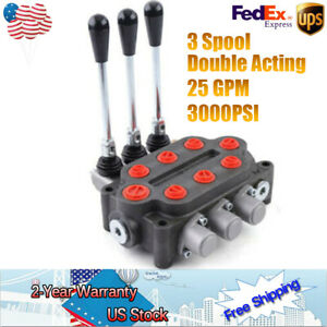3spool 25gpm 3000psi Hydraulic Directional Control Valve Double Acting 90l min