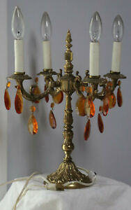 Vintage Brass Crystal Table Lamp With 4 Arms Chandeliers 15 Tall
