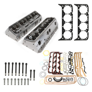 Assembled Aluminum Cyl Head Swap Kit Sbc 383 350 327 1955 2002 Angled Plugs