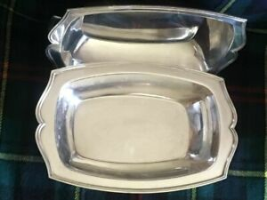 Antique Silver Plated Serving Dish With Lid Art Deco Vintage