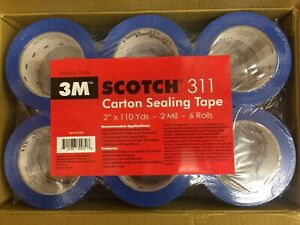36 Rolls 3m Scotch 311 2 x110yd 2 Mil Carton Sealing Tape Heavy Duty Blue