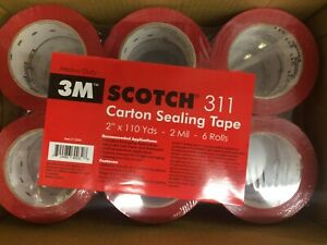 36 Rolls 3m Scotch 311 2 x110yd 2 Mil Carton Sealing Tape Heavy Duty Red