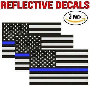 Reflective Thin Blue Line Decal 3x5 In American Flag Decal Police 3 Pack