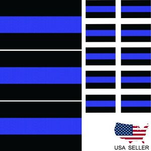 10 Reflective Thin Blue Line License Plate 3 3x5 American Flag Decal Police