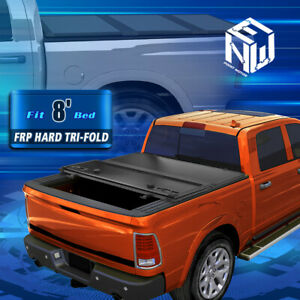 For 02 09 Dodge Ram 1500 3500 8ft Bed Frp Hard Tri Fold Clamp on Tonneau Cover