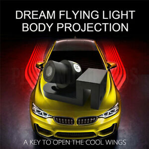 2 Led Red Car Lamp Welcome Door Shadow Projector Truck Suv Light Angel Wings