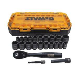 Drive Combination Deep Black Impact Socket Set With Ratchet 3 8 In 23 pieces