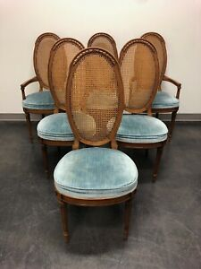 Mid Century Italian Provincial Walnut Caned Dining Chairs Set Of 6