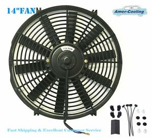 14 Inch Universal Slim Electric Radiator Cooling Fan Push Pull 12v Mount Kit