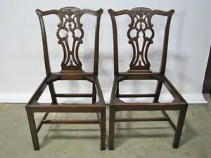 Pair Of Vintage Solid Mahogany Chippendale Style Chairs Beautifully Hand Carved