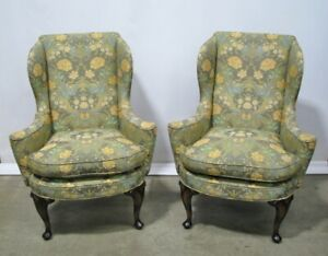 Pair High End Mahogany Georgian Wing Back Chairs Kittinger Or Baker Exceptional