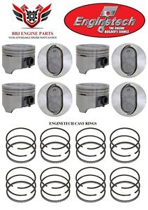 Ford Mercury 460 V8 Enginetech Dish Top Pistons With Rings 1968 1987
