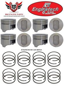Ford Truck 460 V8 Enginetech Dish Top Pistons 8 With Rings 1988 1992