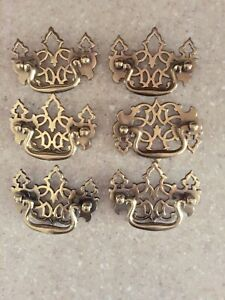 Early American Drop Style Drawer Pulls Brass Lot 6 Pcs
