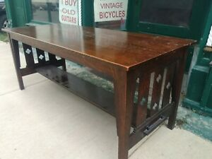 Arts Crafts Mission Oak Antique Library Table L 6 5 W 2 5 Quartersawn