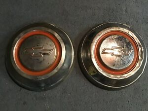 Vintage set Of 2 1950 60s chevy hubcap dog Dish approx 10
