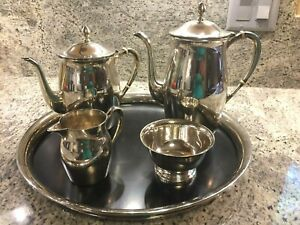 5 Piece Sterling Silver Tea Set Paul Revere Reproduction By Poole