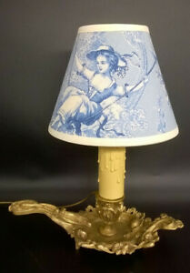 Lamp Candleholder Stamped Rococo Style Era 19th Bronze French Antique