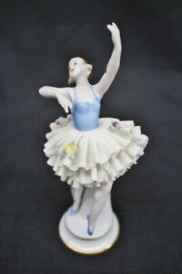 Antique Sitzendorf German Porcelain 7 Figurine Ballerina Blue Leotard Slippers
