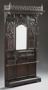 French Gothic Revival Carved Oak Hall Stand Coat Rack Umbrella Stand W Mirror