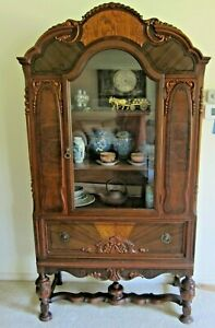 Antique China Cabinet Buffet Hutch Display Fa 3