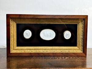 Circa 1820 Antique Grand Tour Plaster Neoclassical Cameo Intaglios Framed