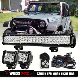 23inch Led Work Light Bar 2pcs 4 Pods wiring Offroad Boat Suv Atv Driving Lamp