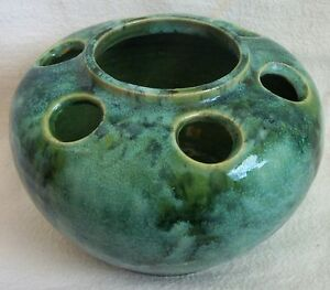 Arts And Crafts Pottery Vase Flower Frog With Onyx Glaze