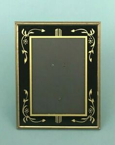 Vtg Art Deco Reverse Painted Glass Brass Picture Frame Easel Gold Black 7 X9