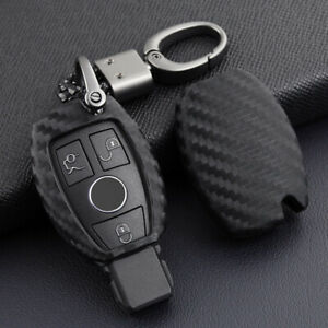 Black Carbon Fiber Silicone Smart Key Chain Cover Case Fob Fit For Mercedes Benz