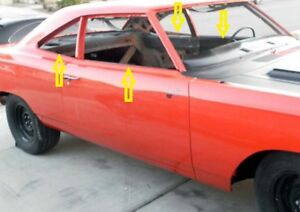 1968 Plymouth Roadrunner Pillard Coupe Window Weatherstrip Outers Only 4 Pcs