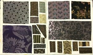 Section Of 19th Century French Woven Designs Wool Silk Swatch Book 56 Designs