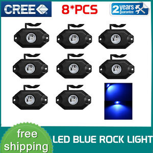 8x White 9w High Power Led Rock Light Kit For Jeep Truck Suv Off road Boat 2inch