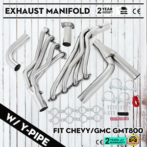 1 7 8 Long Tube Exhaust Header Y Pipe Kit Fit 99 06 Chevy Gmc Pickup Truck